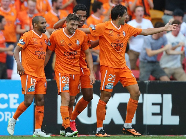 Brandon Borrello of the Roar celebrates after scoring a goal during the round 20 A-League match between the Brisbane Roar and the Western Sydney Wanderers at Suncorp Stadium on March 8, 2015
