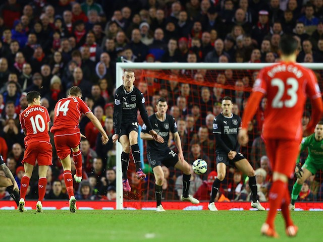 Jordan Henderson of Liverpool scores the opening goal during the Barclays Premier League match between Liverpool and Burnley at Anfield on March 4, 2015