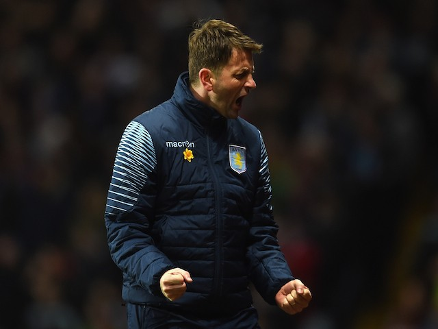 Manager Tim Sherwood of Aston Villa reacts during the Barclays Premier League match between Aston Villa and West Bromwich Albion at Villa Park on March 3, 2015
