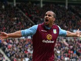 Gabriel Agbonlahor of Aston Villa celebrates scoring their second goal during the Barclays Premier League match between Sunderland and Aston Villa at Stadium of Light on March 14, 2015