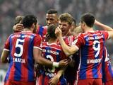 Bayern Munich's midfielder Thomas Muller reacts after scoring a goal during the German first division Bundesliga football match Werder Bremen v FC Bayern Munich in Bremen, Germany, on March 14, 2015