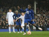 Romelu Lukaku of Everton scores his team's second goal from the penalty spot during the UEFA Europa League Round of 16, first leg match between Everton and FC Dynamo Kyiv at Goodison Park on March 12, 2015