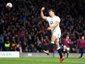 Ben Youngs celebrates scoring a try for England in the Six Nations on March 21, 2015