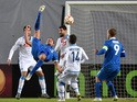 Dinamo Moscow's forward from Germany Kevin Kuranyi (2ndL) kicks the ball during the UEFA Europa League round of 16 second leg football match between FC Dinamo Moskva and SSC Napoli in Khimki outside Moscow on March 19, 2015