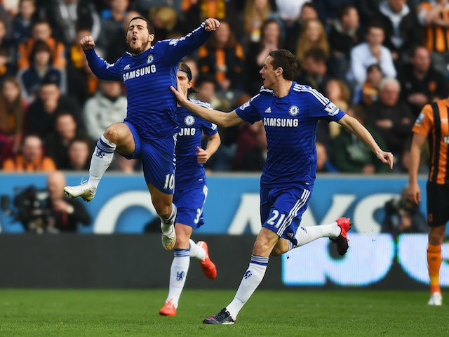 Eden Hazard of Chelsea (10) celebrates with Nemanja Matic (21) as he scores their first goal during the Barclays Premier League match against Hull City  on March 22, 2015