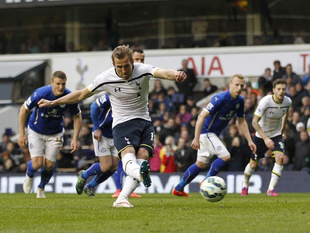 Tottenham Hotspur's English striker Harry Kane scores his third goal, from the penalty spot during the English Premier League football match between Tottenham Hotspur and Leicester City at White Hart Lane in London on March 21, 2015