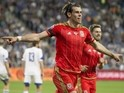 Wales' midfielder Gareth Bale celebrates his goal during the Euro 2016 qualifying football match between Israel and Wales at the Sammy Ofer Stadium in the Israeli coastal city of Haifa, on March 28, 2015