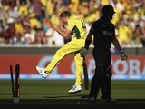 James Faulkner of Australia celebrates after taking the wicket of Corey Anderson of New Zealand during the 2015 ICC Cricket World Cup final at Melbourne Cricket Ground on March 29, 2015