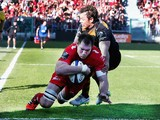 Ali Williams of Toulon dives over to score a last minute try during the European Rugby Champions Cup quarter final match between RC Toulon and Wasps at the Felix Mayol Stadium on April 5, 2015