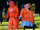 Blackpool fans celebrate the team's second goal during the Sky Bet Championship