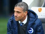 Manager Chris Hughton of Brighton looks on during the Sky Bet Championship match between Brighton & Hove Albion and Norwich City at Amex Stadium on April 3, 2015