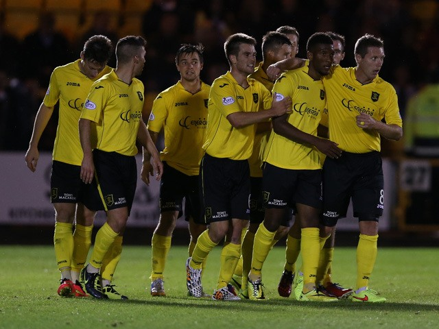 Myles Hippolyte of Livingston goal celebrations during Petrofac Training Cup second round match between Livingston and Hearts at Almondvale Stadium on August 20, 2014