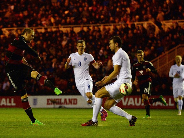 Philipp Hofmann of Germany scores the opening goal during the international friendly between England Under 21 and Germany Under 21 at Riverside Stadium on March 30, 2015