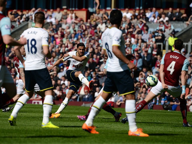 Tottenham Hotspur's Belgian midfielder Nacer Chadli has a shot that was saved during the English Premier League football match between Burnley and Tottenham Hotspur at Turf Moor in Burnley, north west England, on April 5, 2015