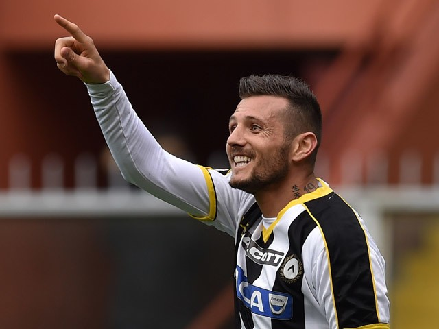 Cyril Thereau of Udinese Calcio celebrates a goal during the Serie A match between Genoa CFC and Udinese Calcio at Stadio Luigi Ferraris on April 4, 2015