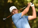 Jordan Spieth of the US tees off the 2nd hole during Round 3 of the 79th Masters Golf Tournament at Augusta National Golf Club on April 11, 2015