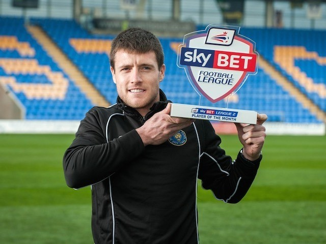 Shrewsbury Town's Bobby Grant poses with his Player of the Month award for March 2015