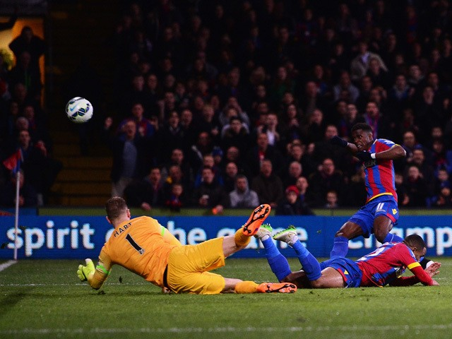 Wilfried Zaha of Crystal Palace misses from close range during the Barclays Premier League match between Crystal Palace and Manchester City at Selhurst Park on April 6, 2015