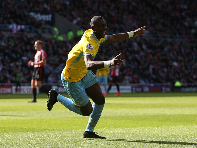 Crystal Palace's French-born Congolese midfielder Yannick Bolasie celebrates scoring their second goal during the English Premier League football match between Sunderland and Crystal Palace at the Stadium of Light in Sunderland, northeast England, on Apri