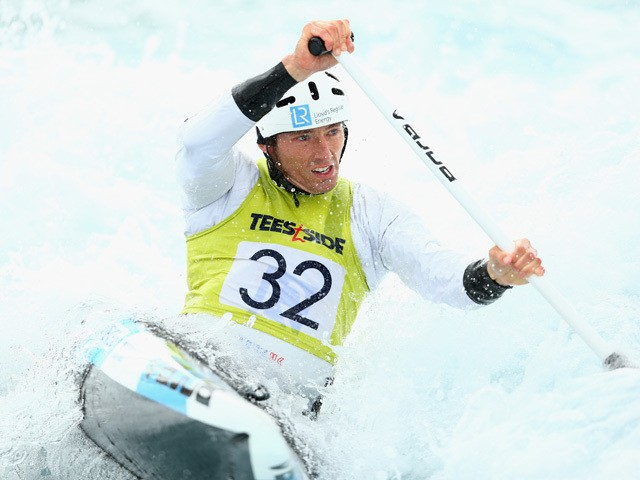 David Florence in action in the Men's Canoe race during the GB Canoe Slalom 2015 UK Championships Selection Trials at Lee Valley White Water Centre on April 5, 2015