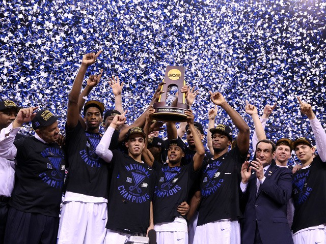 The Duke Blue Devils celebrate after defeating the Wisconsin Badgers during the NCAA Men's Final Four National Championship at Lucas Oil Stadium on April 6, 2015