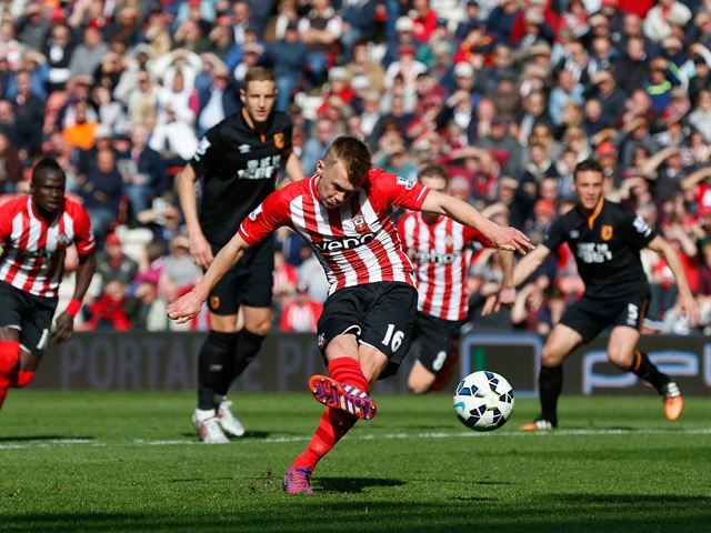 James Ward-Prowse of Southampton scores from a penalty during the Barclays Premier League match between Southampton and Hull City at St Mary's Stadium on April 11, 2015