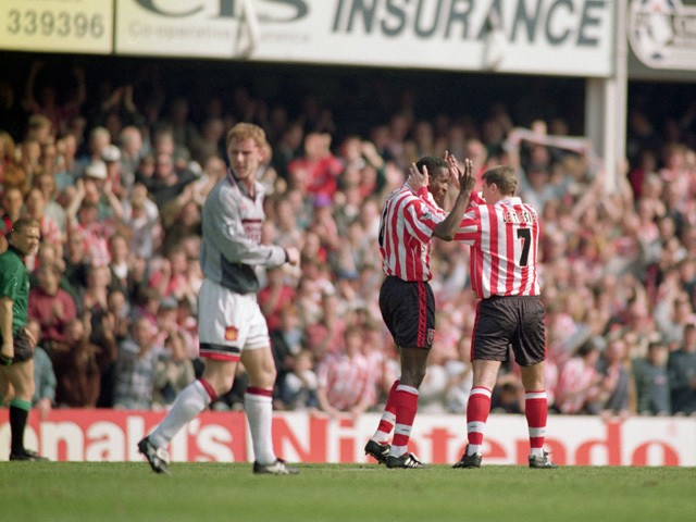 Ken Monkou celebrates his goal with team-mate Matthew Le Tissier of Southampton during the FA Carling Premiership match between Southampton and Manchester United held on April 13, 1996