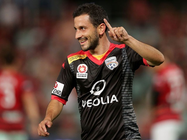 Sergio Cirio of United celebrates scoring a goal during the round 26 A-League match between the Western Sydney Wanderers and Adelaide United at Pirtek Stadium on April 18, 2015
