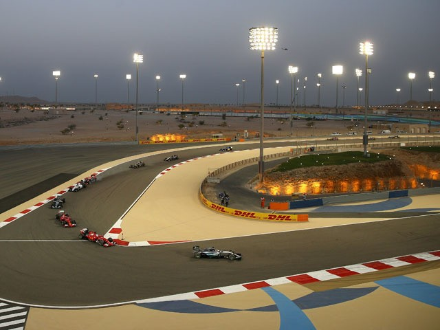 Lewis Hamilton of Great Britain and Mercedes GP leads during the Bahrain Formula One Grand Prix at Bahrain International Circuit on April 19, 2015