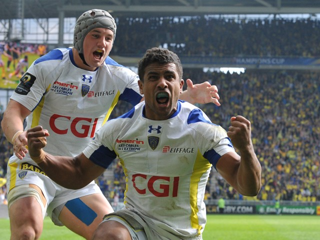 Clermont's French centre Wesley Fofana celebrates after scoring a try during the European Rugby Champions Cup semi-final match between Clermont and Saracens at Geoffroy-Guichard stadium in Saint-Etienne, central France, on April 18, 2015