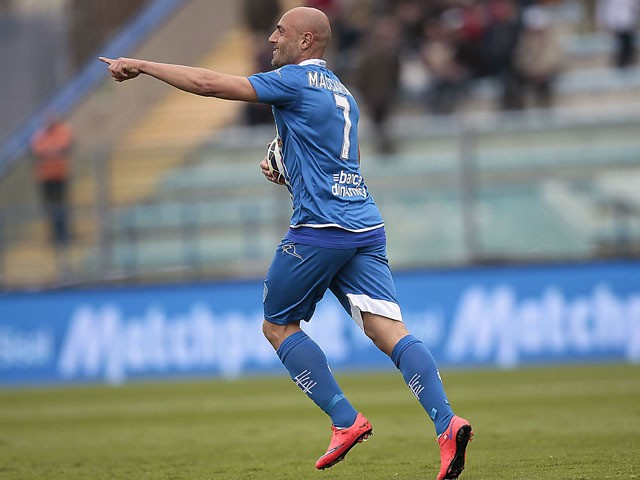 Massimo Maccarone of Empoli FC celebrates after scoring a goal during the Serie A match between Empoli FC and Parma FC at Stadio Carlo Castellani on April 19, 2015