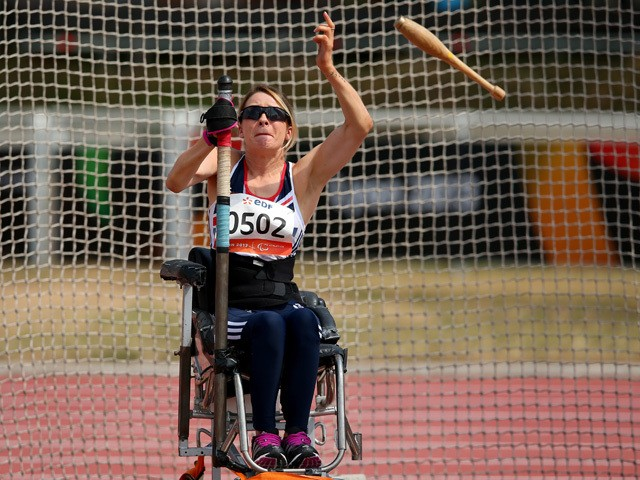 Josie Pearson of Great Britain in action in the Women's Club Throw F31/32/51 during day five of the IPC Athletics World Championships on July 24, 2013