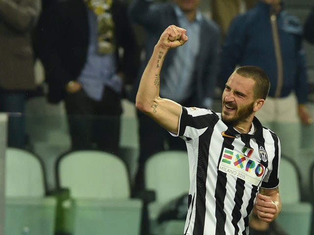 Juventus' defender Leonardo Bonucci celebrates after scoring during the Italian Serie A football match Juventus vs Lazio at 'Juventus Stadium' in Turin on April 18, 2015