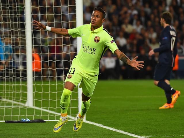 Neymar of Barcelona celebrates scoring the opening goal during the UEFA Champions League Quarter Final First Leg match between Paris Saint-Germain and FC Barcelona at Parc des Princes on April 15, 2015