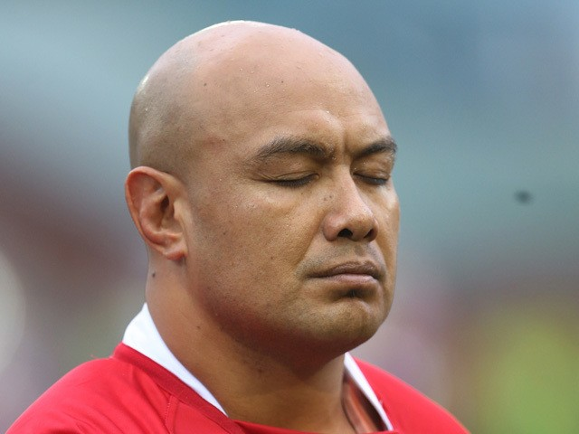 Tonga's Nili Latu lines up for the the national anthems during the Autumn International rugby union Test match between Scotland and Tonga at Rugby Park in Kilmarnock, Scotland on November 22, 2014