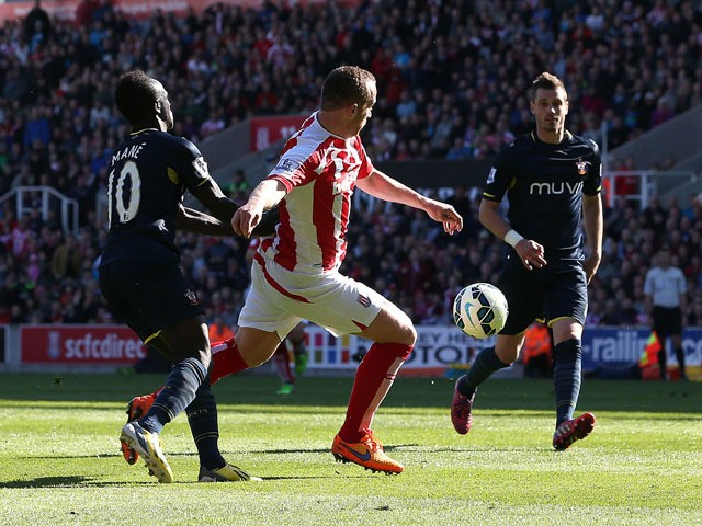 Charlie Adam of Stoke City scores his team's second goal during the Barclays Premier League match between Stoke City and Southampton at the Britannia Stadium on April 18, 2015