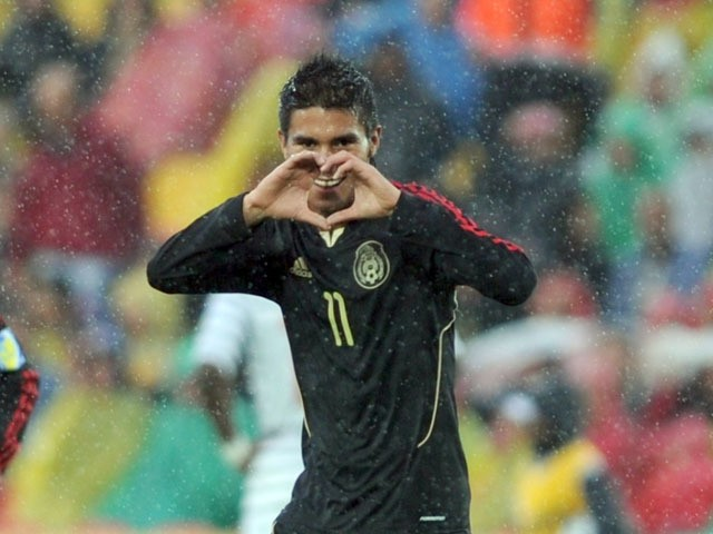 Mexican forward Ulises Davila celebrates after scoring against France during the FIFA 2011 Under-20 World Cup third place football match in Bogota on August 20, 2011