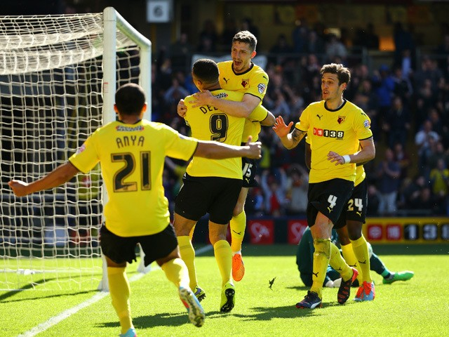 Craig Cathcart of Watford celebrates scoring the first goal during the Sky Bet Championship match between Watford and Birmingham City at Vicarage Road on April 18, 2015