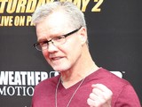 Trainer Freddie Roach poses for the media as he arrives for the Floyd Mayweather v Manny Pacquiao Press Conference on March 11, 2015