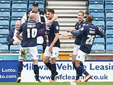 Lee Gregory of Millwall celebrates his goal during the Sky Bet Championship match between Millwall and Derby County at The Den on April 25, 2015