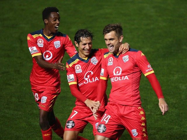 Cameron Watson of United reacts after scoring from a penalty during the round 26 A-League match between Adelaide United and Melbourne City at Coopers Stadium on April 25, 2015