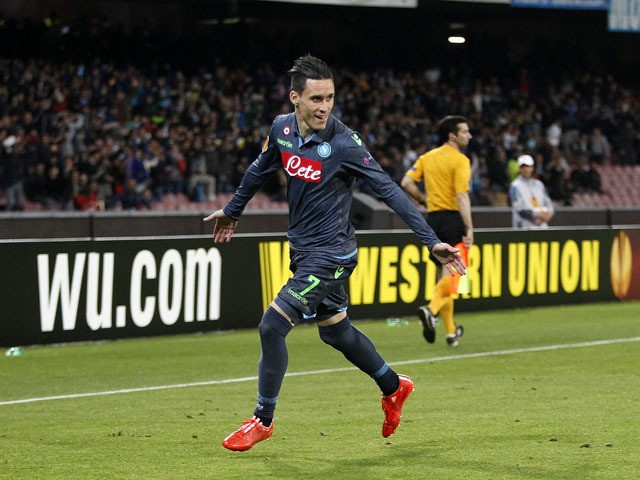 Jose Maria Callejon of Napoli celebrates after scoring goal 1-0 during the UEFA Europa League quarter-final second leg match between SSC Napoli and VfL Wolfsburg on April 23, 2015