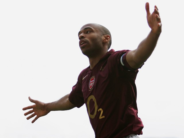 Thierry Henry of Arsenal celebrates scoring his teams third goal during the Barclays Premiership match between Arsenal and Wigan Athletic at Highbury on May 7, 2006