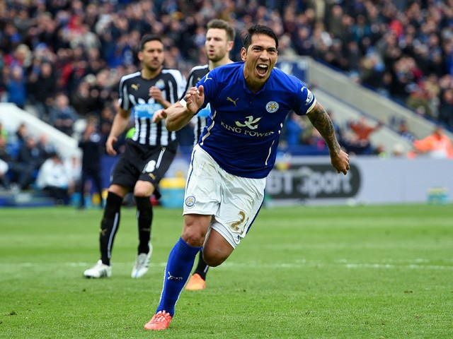 Leonardo Ulloa of Leicester City celebrates scoring his team's third goal from the penalty spot during the Barclays Premier League match between Leicester City and Newcastle United at The King Power Stadium on May 2, 2015