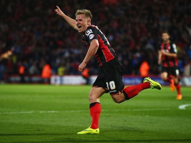 Matt Ritchie celebrates scoring Bournemouth's second goal on April 27, 2015