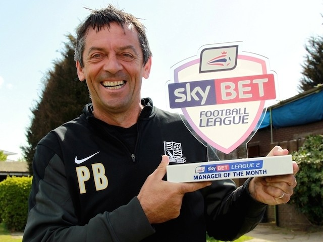 Southend United manager Phil Brown with his Manager of the Month award on April on April 30, 2015