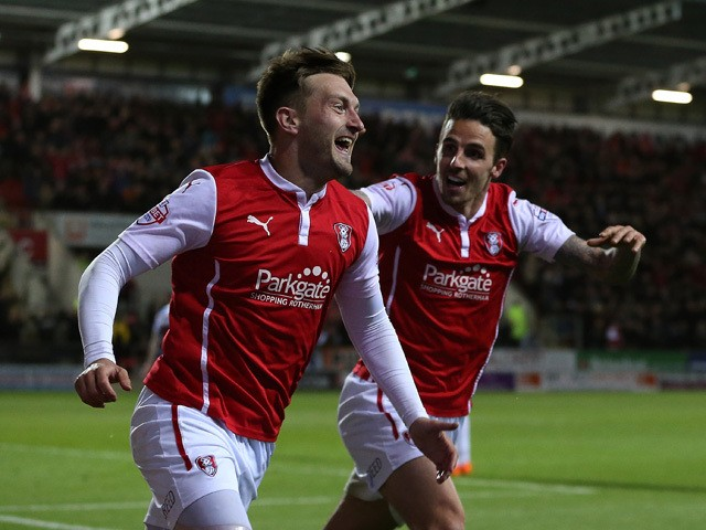 Lee Frecklington of Rotherham celebrates his goal with team mates Matt Derbyshire during the Sky Bet Championship match between Rotherham United and Reading at The New York Stadium on April 28, 2015