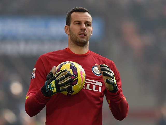 Samir Handanovic of FC Internazionale Milano looks during the Serie A match between FC Internazionale Milano and Genoa CFC at Stadio Giuseppe Meazza on January 11, 2015