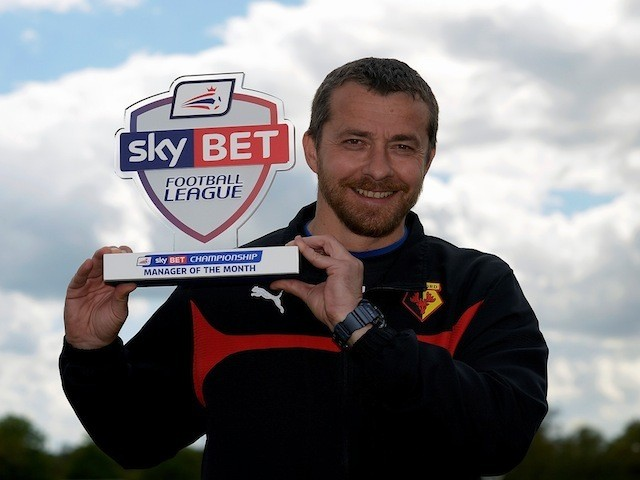 Watford boss Slavisa Jokanovic with his Manager of the Month for April on April 30, 2015