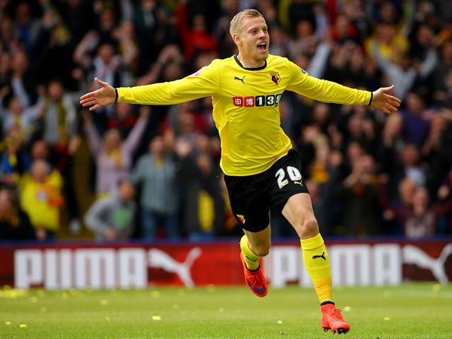 Matej Vydra of Watford celebrates scoring the opening goal during the Sky Bet Championship match between Watford and Sheffield Wednesday at Vicarage Road on May 2, 2015